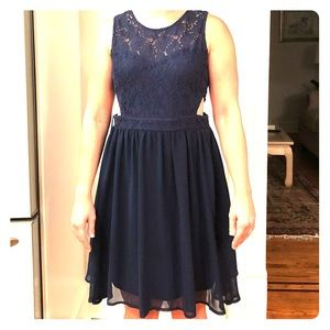 She and Sky Dresses - Navy Lace A-Line dress with side cut out design!